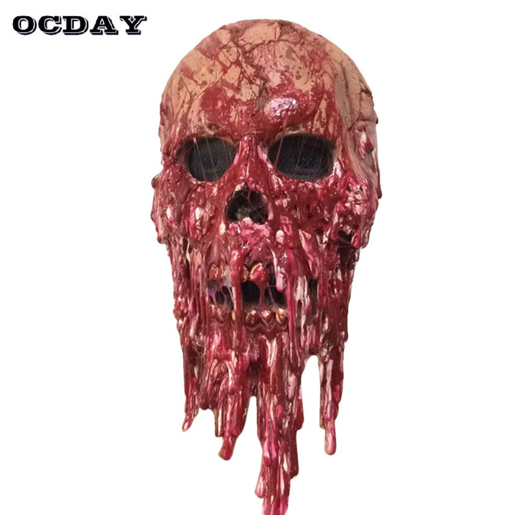 OCDAY Horror Blood Skull Mask Halloween Ghost Holes Blood Drop Scary Spooky Party Hanging Thriller Skull Devil Terror Masks Toys halloween scary ghost face mask white multi color