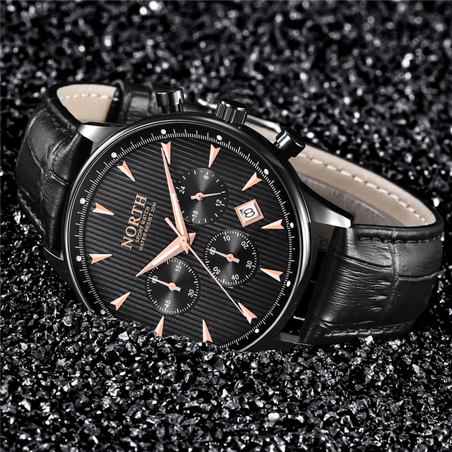 NORTH Men's Auto Date Chronograph Water Resistant Casual Luxury Military Quartz Wrist Watches 1