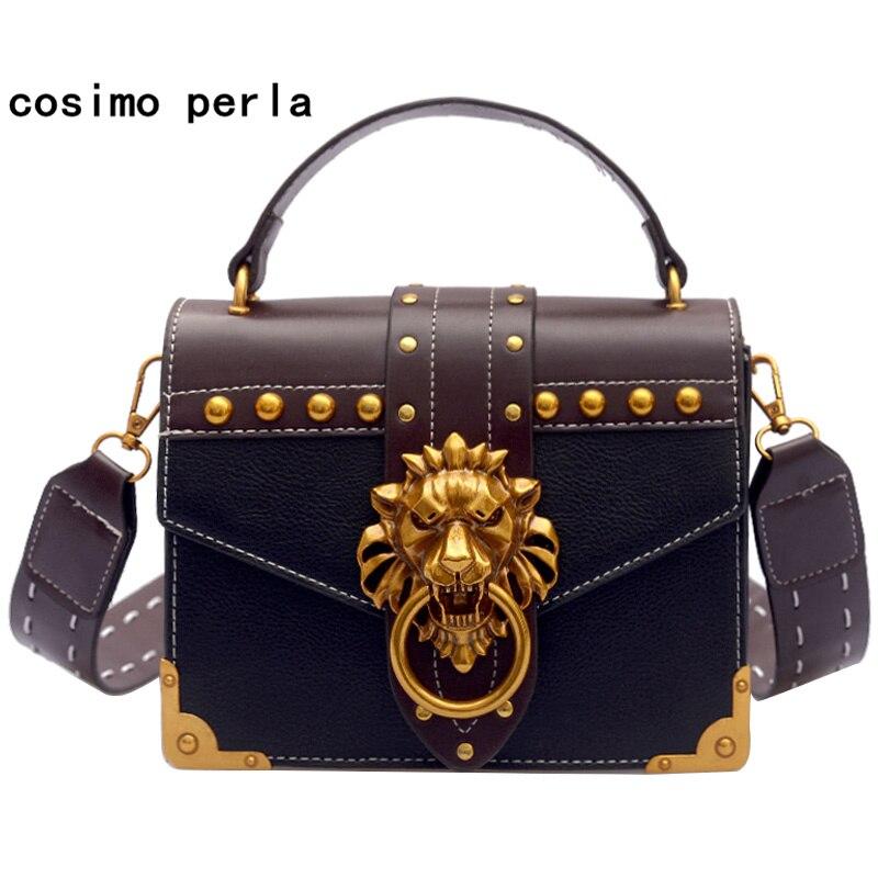 de2f4b9af259 Fashion Small Flap Crossbody Bags for Women Color Patchwork Retro Lion Head  Lock Rivet Korean Wide