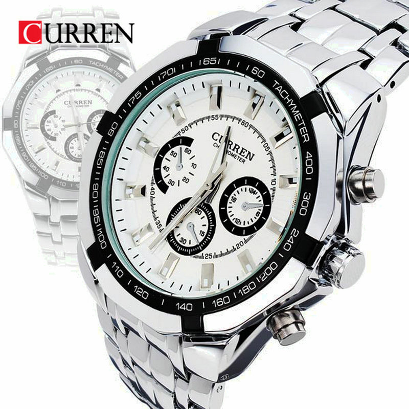 Curren brand fashion men s full stainless steel military casual sport watch waterproof relogio masculino quartz