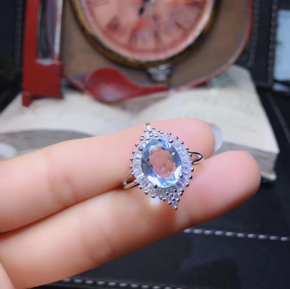 100% naturel brésil aigue-marine ov8 * 10mm bague en pierres précieuses en argent sterling 925 bijoux en pierre précieuse avec boîte-cadeau - 2