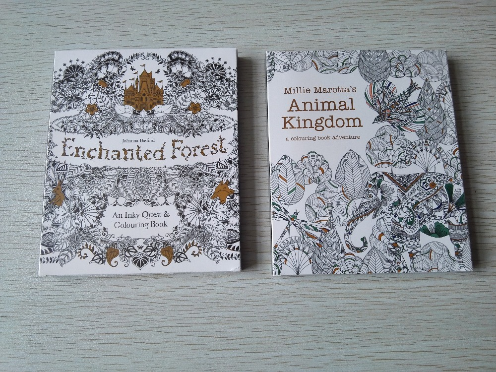 2PCS/LOT English Edition Enchanted Forest + Animal Kingdom 30 Sheets Coloring Card  Tintage Postcards DIY Colouring Postcards