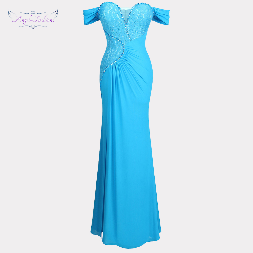 Angel-fashions Women's Off Shoulder Prom Dresses Beading Pleated Lace Party Gown Sky Blue 400