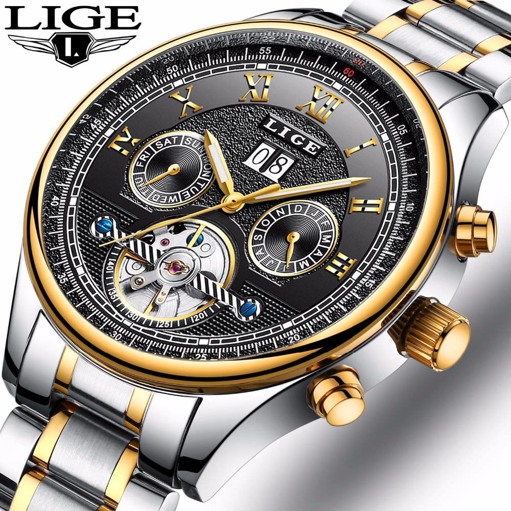 LIGE Mens Watches Top Brand Luxury Automatic Mechanical Watch Men Full Steel Business Waterproof Sport Watches Relogio Masculino relogio masculino guanqin brand luxury men business tourbillon skeleton watches full steel waterproof automatic mechanical watch