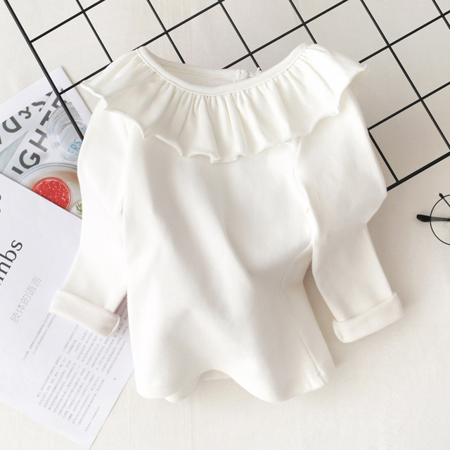 Toddler Kids Baby Girls Cotton shirt Long Sleeve Solid Tops Spring Autumn Girls Basic Tee Shirt RT508 3