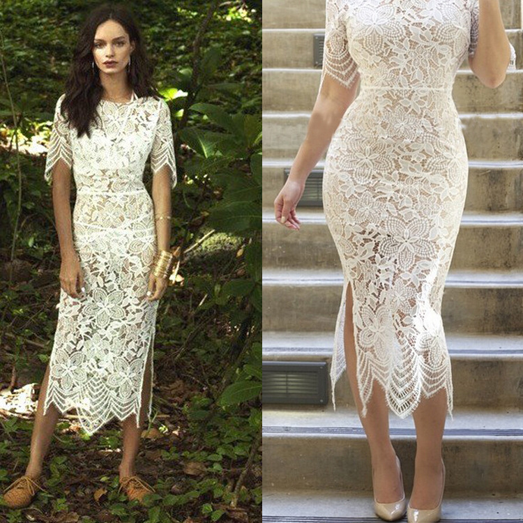 2015 New Summer Dress Sexy Club Outfits See-through Backless Fashion Women  Lace Dress White Party Outfits For Women vestidos 331058c0f
