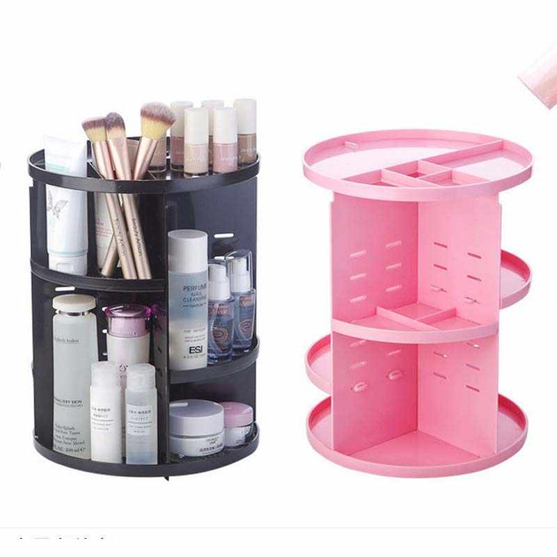 New Fashion 360-degree Rotating Makeup Organizer Brush Holder Jewelry Organizer Case Jewelry Makeup Cosmetic Storage Box Shelf
