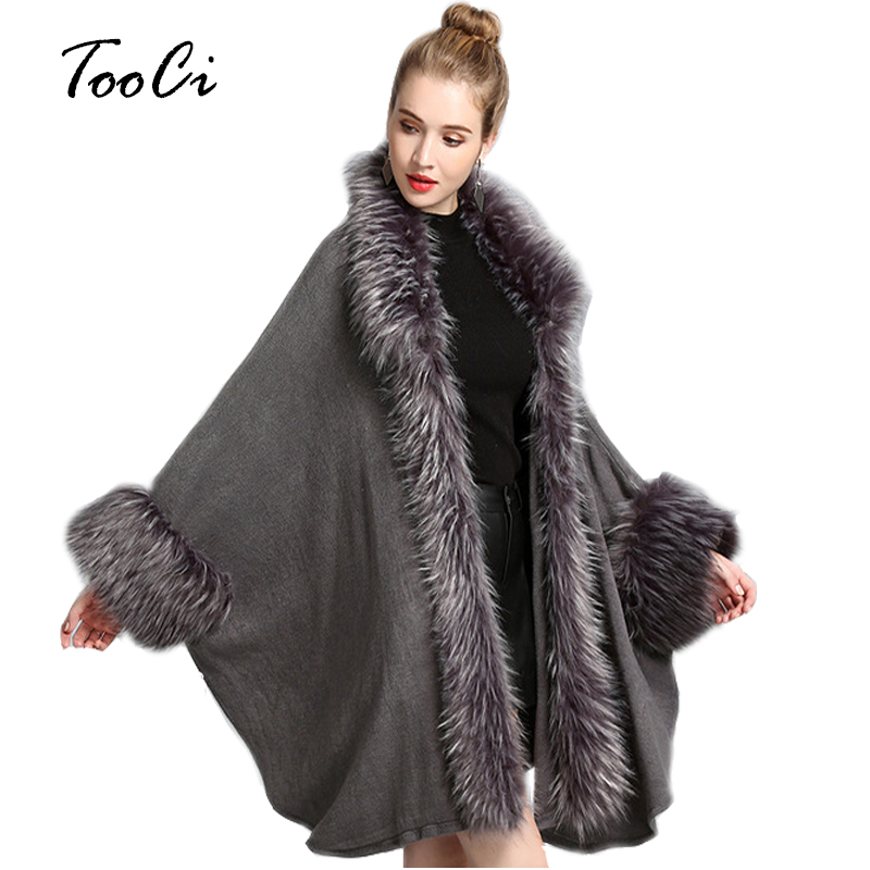 Fake Fur Coat Autumn And Winter Lady Loose Gray Knitted Shawl Cardigan Fashion Fake Fur Women Bat Sleeve Poncho And Cape Coat