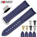 Zlimsn correas de reloj 22mm reemplazo azul de los hombres diver extremo curvo de goma venda de reloj de la correa de reemplazo ome122