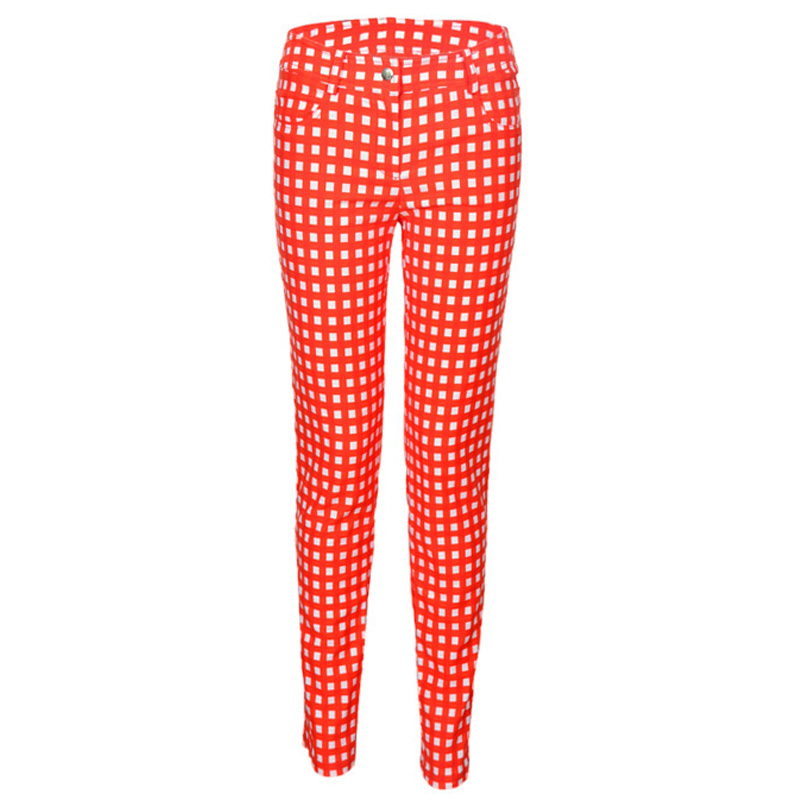 ФОТО 2016 new arrival autumn women Golf plaid pants lady plaid trousers golf elastic slim skinny pants all-match girl brand pants