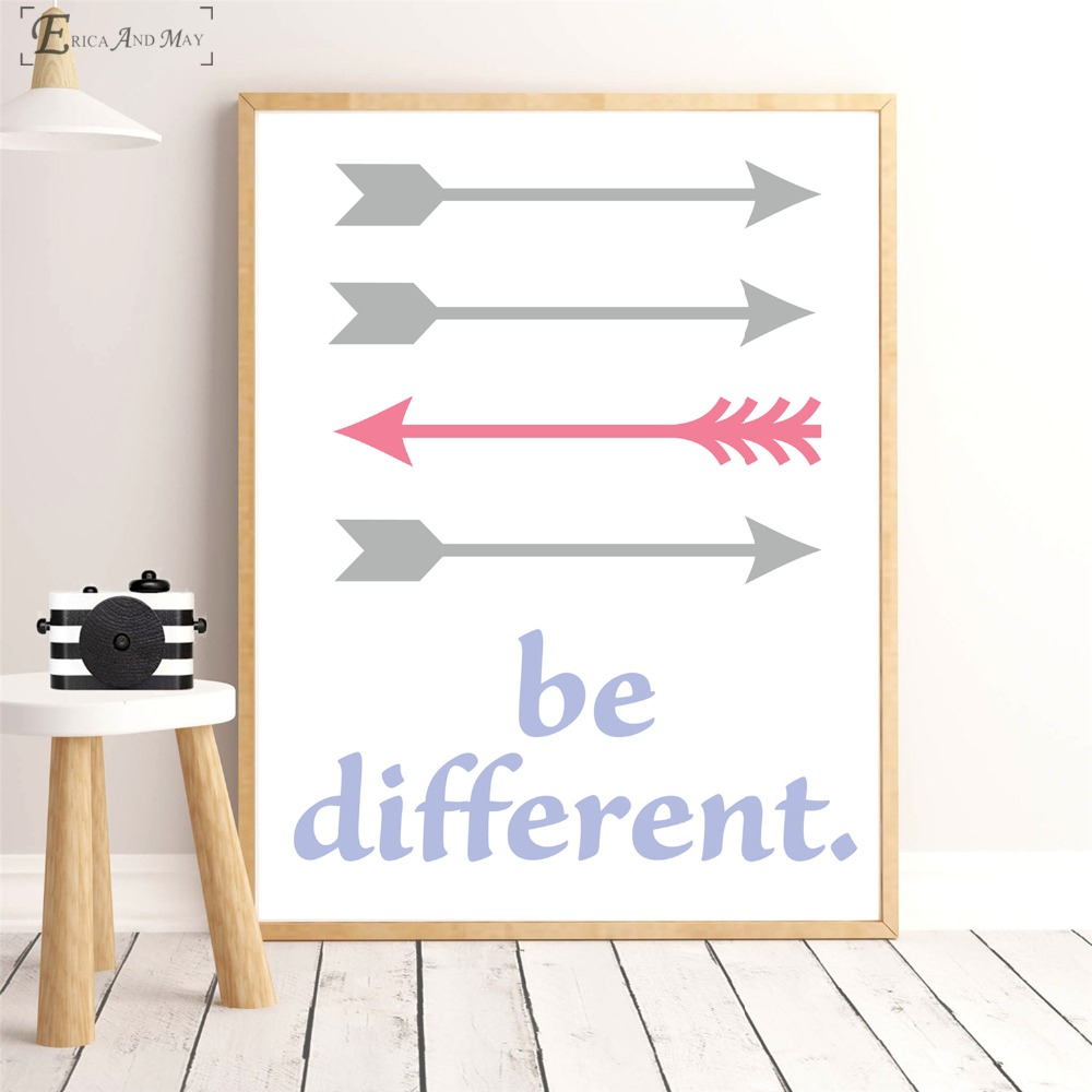 Nursery Arrow Be Different Quote On Sale Poster Wall Painting Living Room Abstract Canvas Art Pictures For Home Decor No Frame
