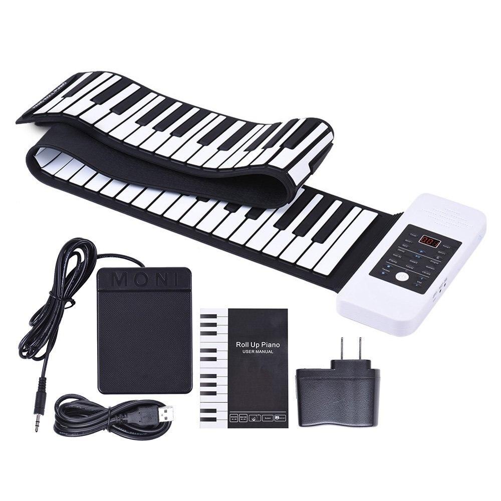 Портативный гибкие электронные 88 клавиш свернуть клавиатуру пианино с MIDI для начинающих детей