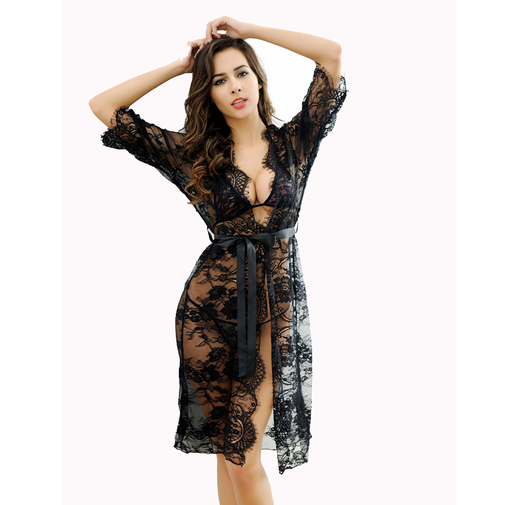 Brand 4pc Transparent Intimates Women S Sexy Lace Long Robe Lingerie Set Sleepwear Bathrobes Spring And Summer Lingerie Sets Robes Aliexpress