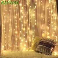 RAYWAY 600LEDs Fairy String Icicle led Curtain Light 220v 110V 6M*3M Bulb Outdoor Home Xmas Christmas Wedding Garden Party