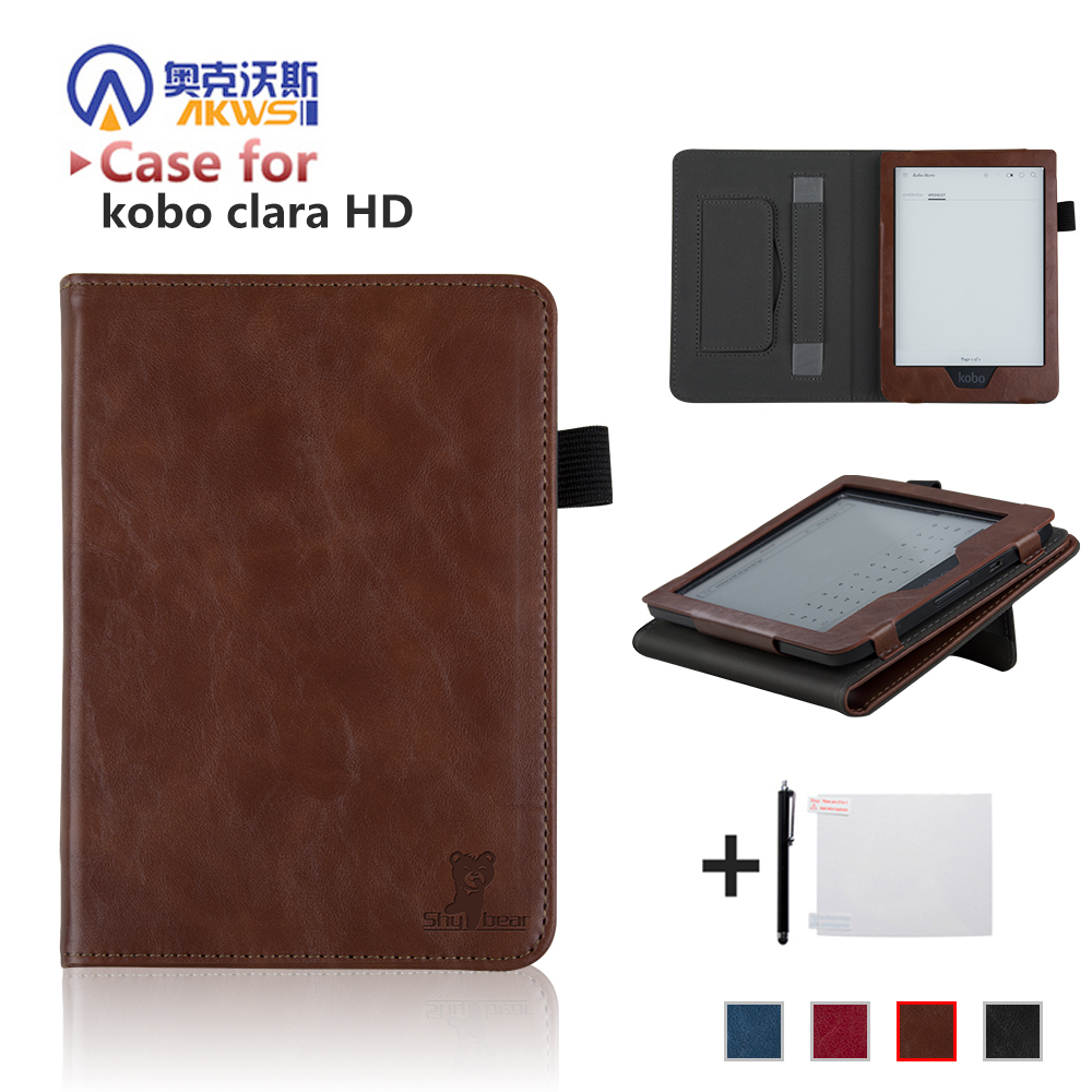 все цены на Flip PU Leather Case for New Kobo Clara HD Ebook Ereader Protective Case Cover with Hand Grip Auto Wake/sleep+free Gift онлайн