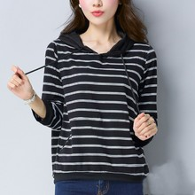 Spring And Autumn Female Long-Sleeve Stripe T-shirt Loose Casual Top Hooded Basic T-Shirt sequined stripe long sleeve loose fitting t shirt