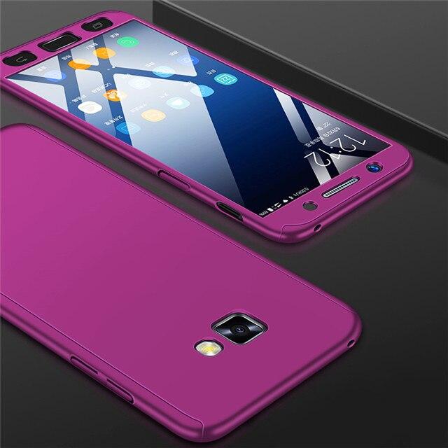 Модные 360 противоударный полное покрытие для samsung Galaxy A3 A5 J1 J3 J5 J7 J2 Prime A7 A6 A8 J4 J6 плюс чехол для телефона - Цвет: Фиолетовый