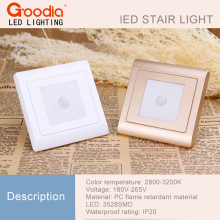 2Pcs/Lot PIR motion Det Light sensor 86 box stair light led infrared human body induction lamp recessed steps ladder wall lamp