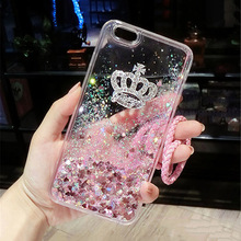 For Samsung S7 edge S8 S9 Plus Note 3 4 5 8 9 Luxury Rhinestone Bling Crown Liquid quicksand Lanyard soft Phone case Back cover