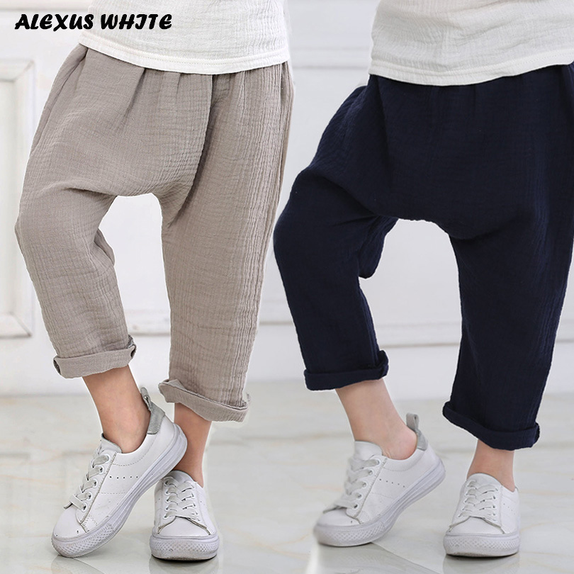 New 2-7y 2018 Summer Solid Color Linen Pleated Children Knee-length Pants for Baby Boys Girls Pants Harem Pants for Kids Child self tie waist frill trim pleated pants