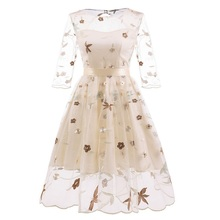 Elegant Princess Dress Young Women Girl Cute Three Quarter Lace Bow Embroidery Sweet Spring Autumn 2019 New