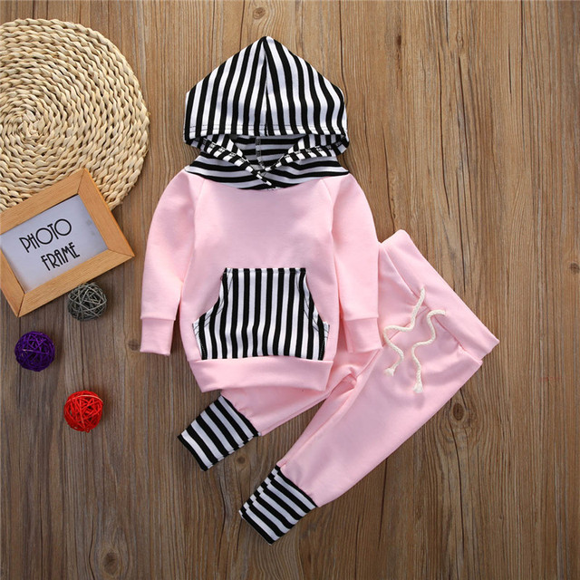 Baby Girls Stripe Hoodie Sweatpants Sets Boys Hoodies Sets Kids Autumn Clothing Sets Cotton Sweatshirt 2016 Fashion
