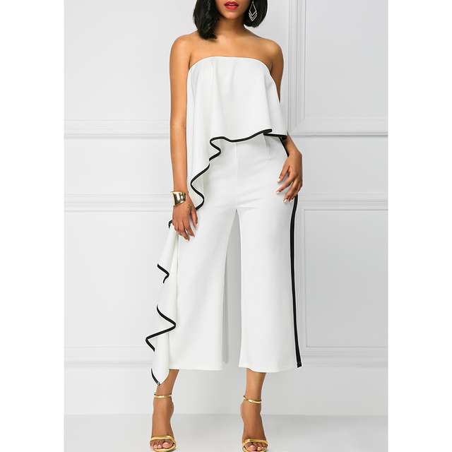 Kenancy Women Jumpsuits Casual Female Strapless Lotus Leaf Overalls Long Trousers Fashion Loose Rompers 2019 Summer Playsuits