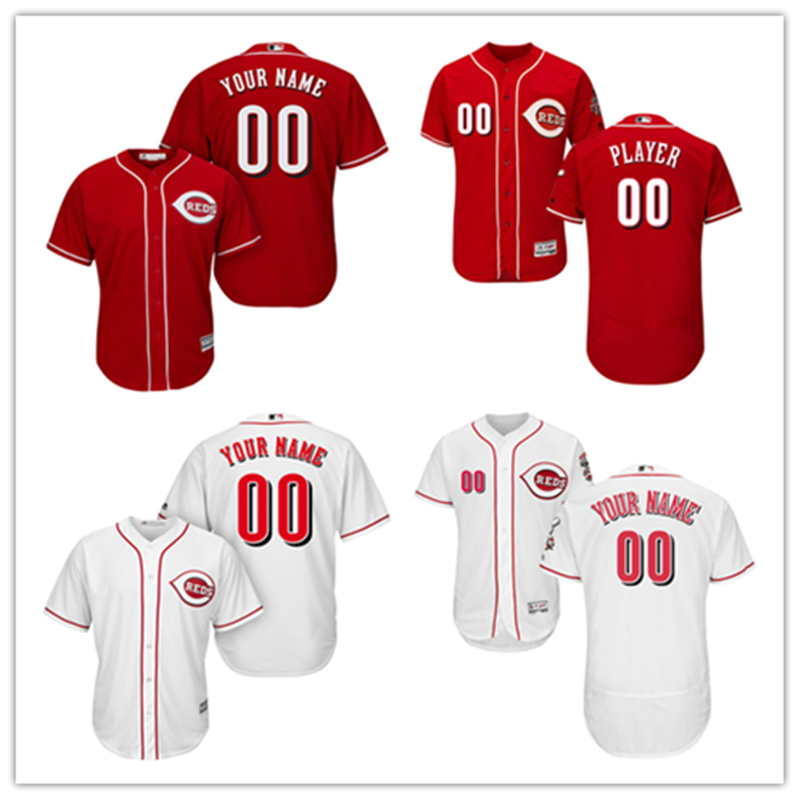 MLB Mens Cincinnati Reds Custom Jersey Embroidery Stitched Flex Cool Base Jersey Any Name Number
