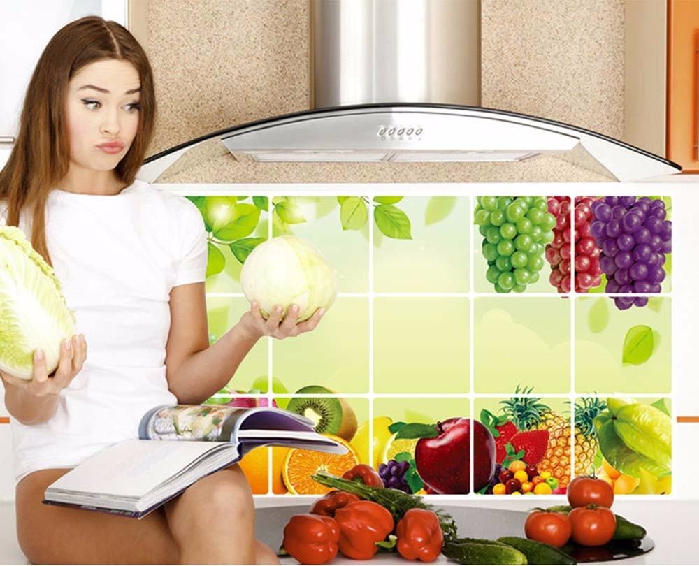 Fashion Hot Sale Aluminum Foil Kitchen Oilproof Removable Wall Stickers Art Decor Home Decal Approx75cm45cm Home Decor@YL