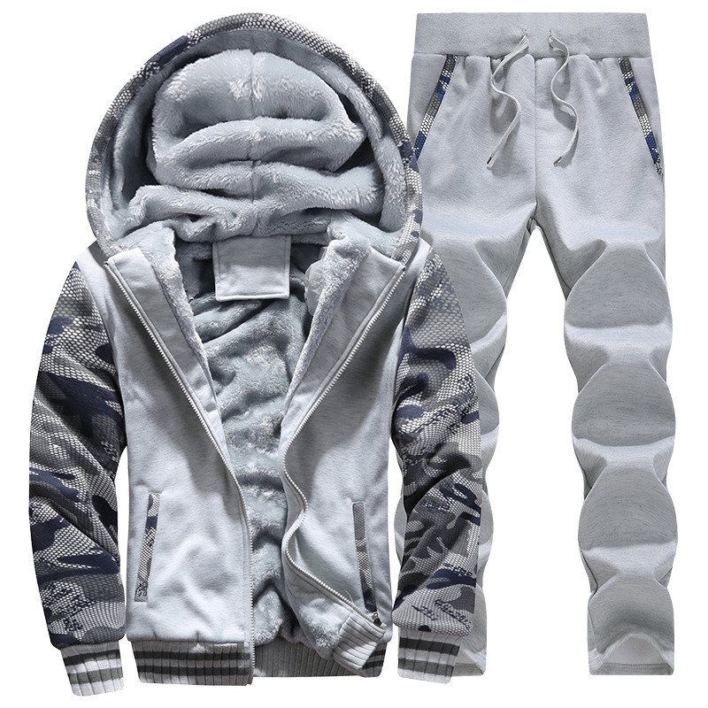 2018 Mens Thicken Velvet Hoodie Jacket Hooded Coat Winter Warm Mens Set Fleece Lined Sweatshirt Tracksuit+Pants Sportswear