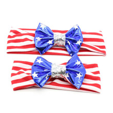 2PCS 4th of July Headband Independence Day Bow Knot Hairband American Flag Turban Mother and Kids Headwrap Women Girls Hair Bow