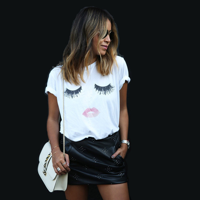 2017 nouveau style d'été mode cils yeux lèvres rouges lâche t-shirt coton imprimé à manches courtes t-shirt haut pour femme dame t-shirts