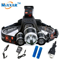 Head Torch Headlamp Cree 3 XML T6 Led Headlight 9000LM 4 Modes Head Flashlight For Hunting