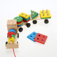 New Kid Baby Wooden Solid Stacking Train Toddler Block Toy Fun Vehicle Block Board Game Wooden