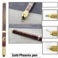 Tebori Pen Microblading Pen Tattoo Machine for Permanent Makeup Eyebrow Tattoo Manual Pen 2pcs Needle Blade Microblading