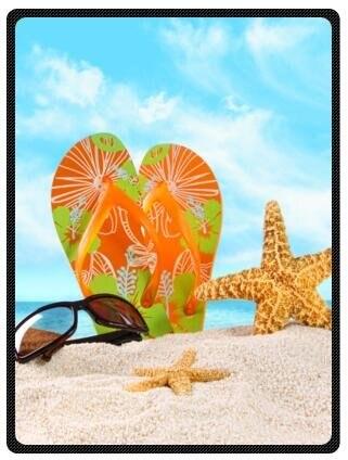 Top Design Beach Flip Flops Printed Blanket Sumptuously Plush Lap Unique Flip Flop Throw Blanket