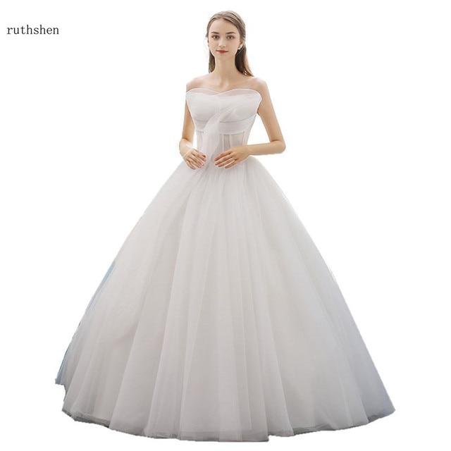 Us 1234 28 Offruthshen Simple Robe Mariee Sirene Fantasy Strapless Wedding Dresses Brial Gowns 2018 New Vestido De Noivas Princess Ball Gown In
