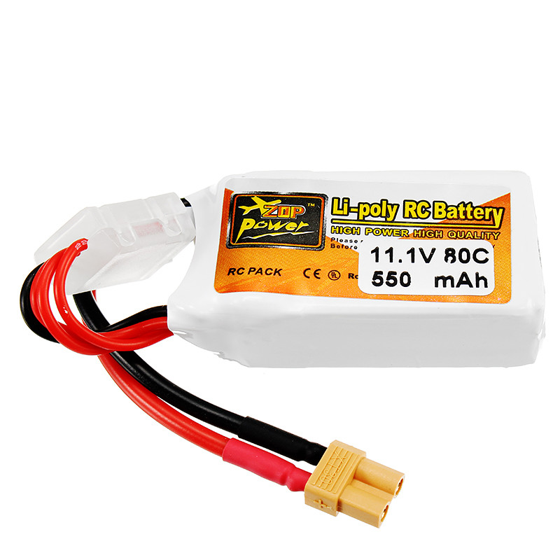 ZOP Power 11.1V <font><b>550mAh</b></font> 80C <font><b>3S</b></font> Lipo Battery Rechargeable XT30 Plug Connector For RC Drones Quadcopter Helicopter Toys Spare Parts image