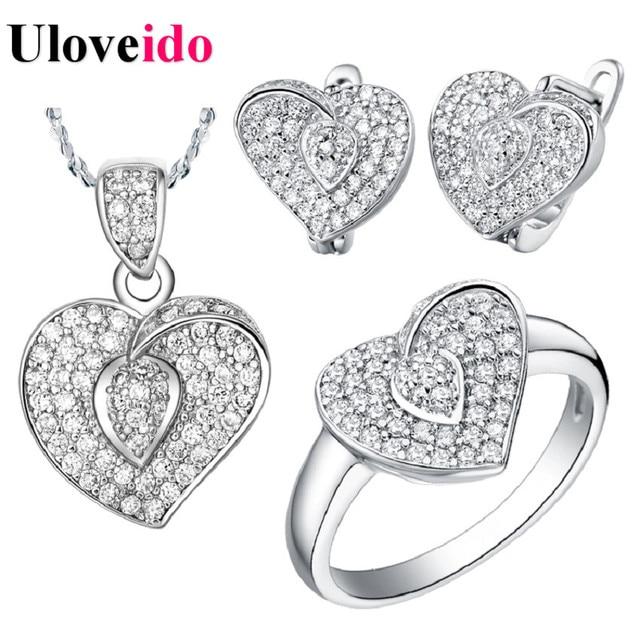 51974e989f34 Sistemas de la joyería de compromiso de boda nupcial jewellry amor en forma  de corazón micro