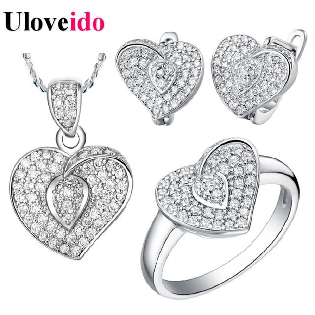 Sistemas de la joyería de compromiso de boda nupcial jewellry amor en forma de corazón micro pave circonitas pendientes anillo collar libre del níquel