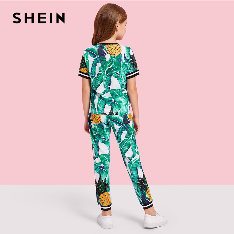 Image 2 - SHEIN Kiddie Girls Jungle Leaf Print Top And Pants Casual Set Kids Clothing Sets 2019 Summer Korean Short Sleeve Beach Suit Sets-in Clothing Sets from Mother & Kids