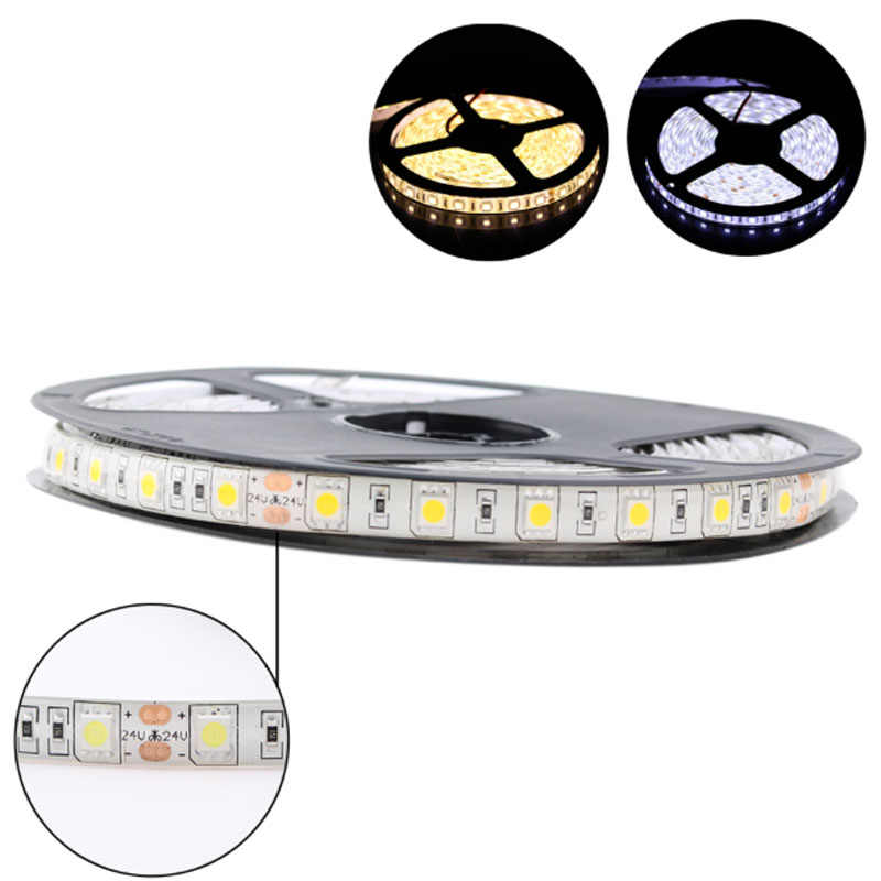 LED Strip 5050 DC 24 V RGB Warmwhite 24 V 5 Meter Tahan Air Fleksibel Lampu Garis 60LED/Mled Tape luces Lampu Pita TV Backlight