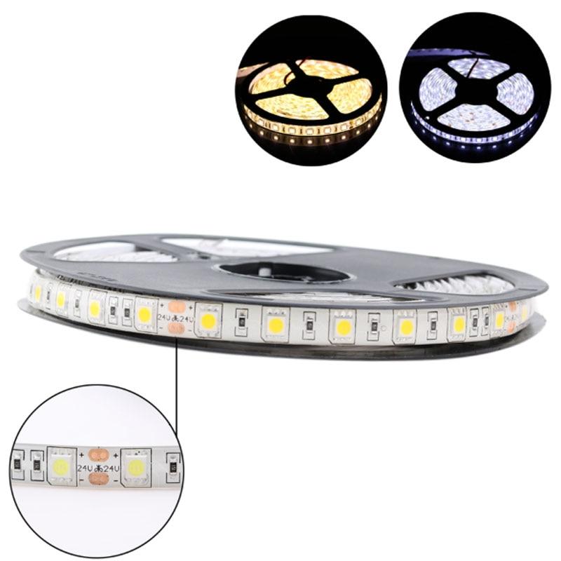 LED Strip 5050 DC 24V RGB WarmWhite 24 V 5 Meter Waterproof Flexible Light Stripe 60LED/MLed Tape Luces Lamp Ribbon Tv Backlight