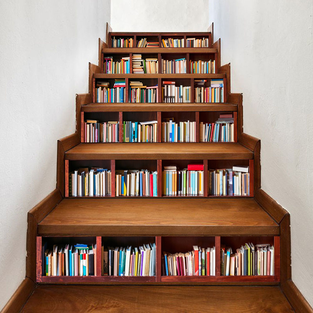 6pcsset Library Stairs Stickers Bookcase Style Stairscase