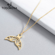 Todorova Origami Whale Tail Pendant Necklace Dolphin Fishtail Choker Colar Mermaid Necklaces for Women Jewelry Accessories
