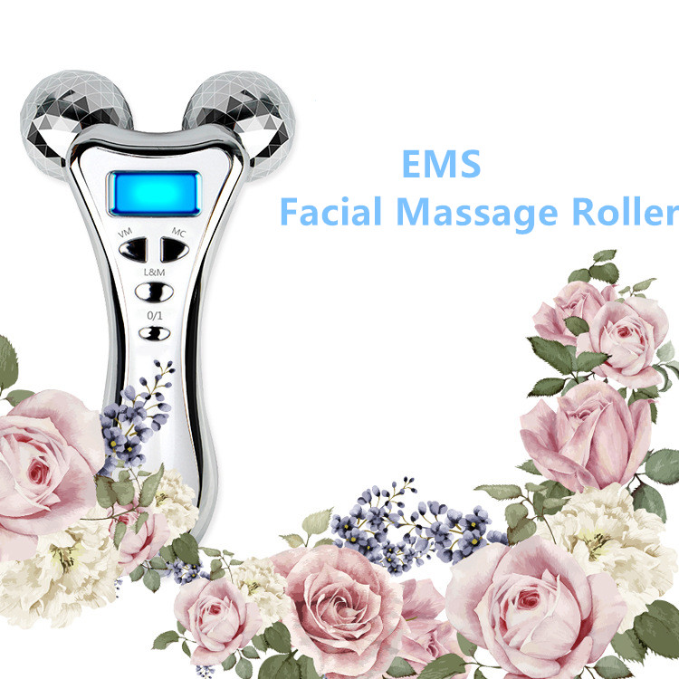 New EMS 3d thin face roller rechargeable facial massager micro current vibration massager v face slimming beauty instrument