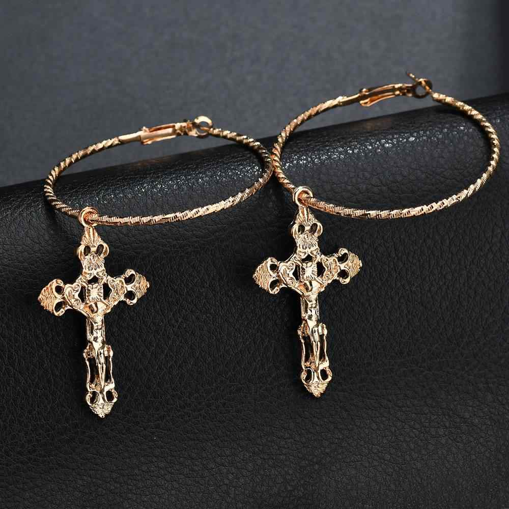 Terreau Kathy Gold Color Cross Earrings for Women Cross Pendant Earrings Drop Earrings Vintage Fashion Jewelry Accessories