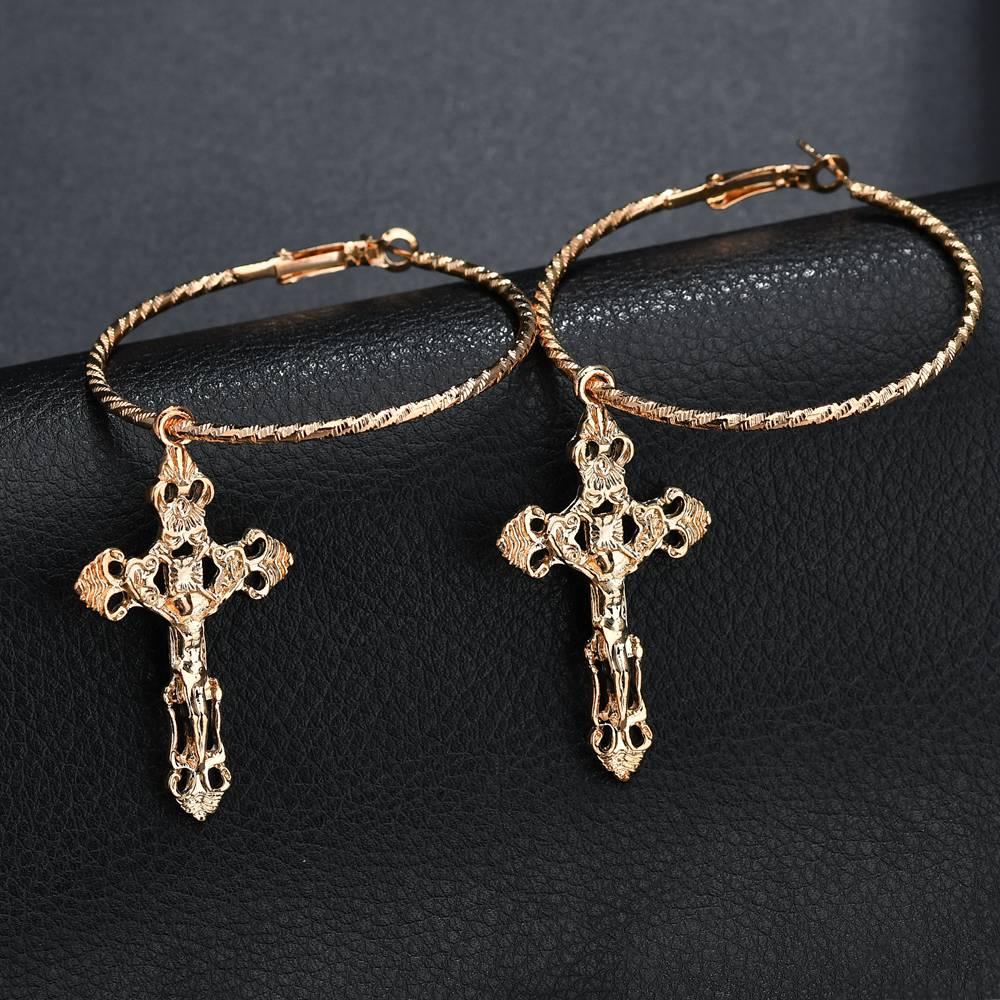Terreau Kathy Gold Color Cross Earrings for Women Cross Pendant Earrings Drop Earrings Vintage Fashion Jewelry Accessories
