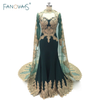 Real Photo Mermaid Evening Dresses Long Sleeve With Cape Dubai Muslim Prom Dress 2017 Applique Beaded