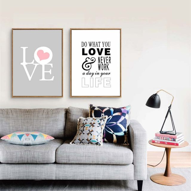 Nordic Minimalist Canvas Painting Print Love Quote Posters Wall Picture For Living Room Decoration Clic Gifts Lover